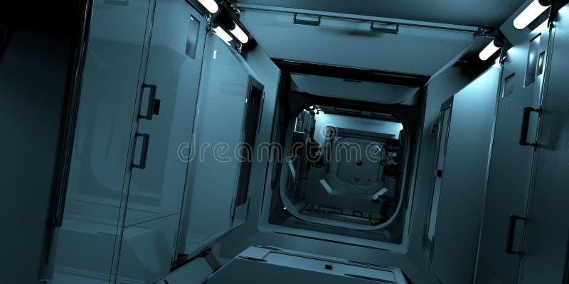 极端ISS的详细和现实高分辨率3D例证-国际空间站内部 皇族释放例证