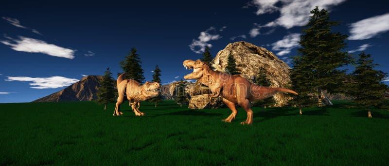 极端T雷克斯恐龙的详细和现实高分辨率3d例证在侏罗纪时代 皇族释放例证
