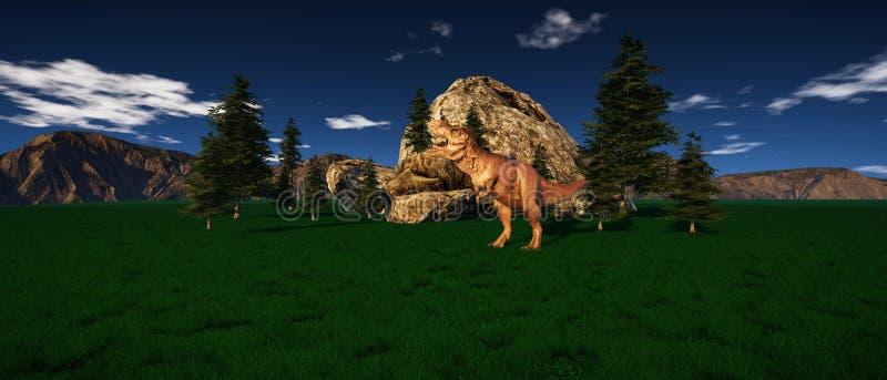 极端T雷克斯恐龙的详细和现实高分辨率3d例证在侏罗纪时代 库存例证