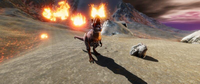 极端T雷克斯恐龙的详细和现实高分辨率3d illustratation在恐龙绝种时 皇族释放例证