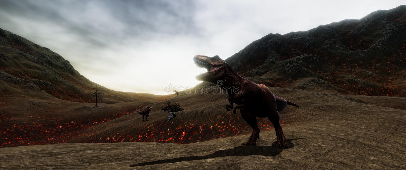 极端T雷克斯恐龙的详细和现实高分辨率3d illustratation在恐龙绝种时 库存例证