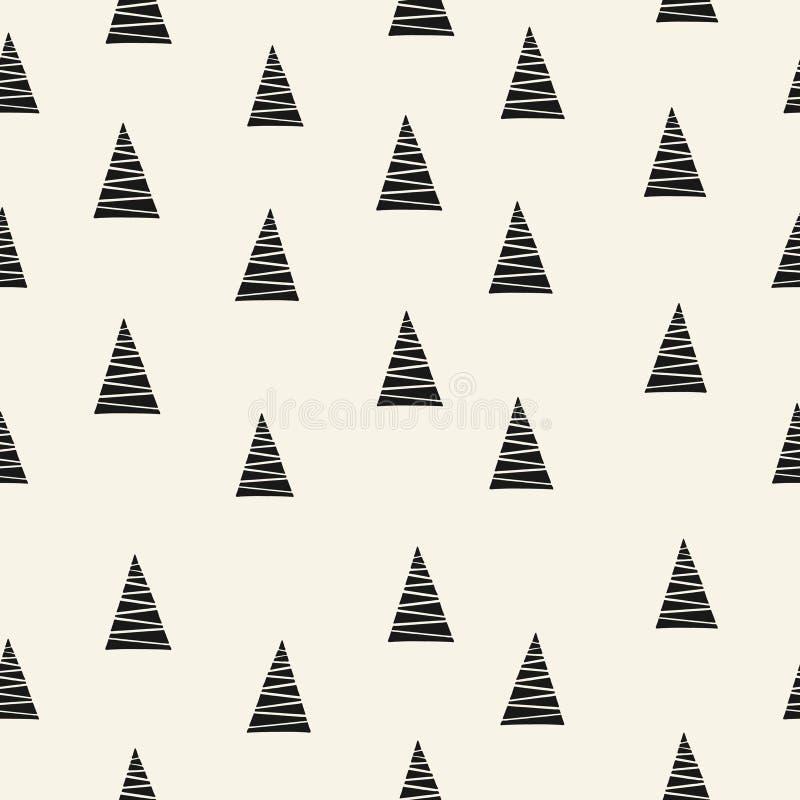 极简圣诞树无缝图案 向量例证