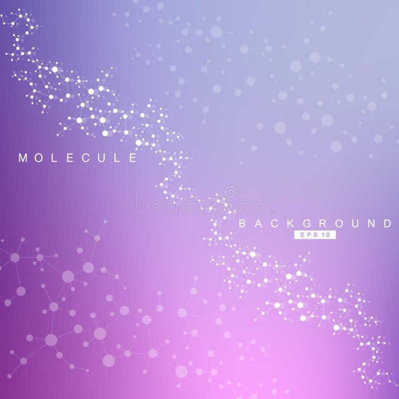 结构分子和通信 脱氧核糖核酸,原子,神经元 您的设计的科学概念 与小点的被连接的线 库存例证