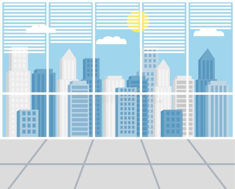 结构商务中心例证主题 也corel凹道例证向量 摩天大楼 从日间窗口的看法 库存例证