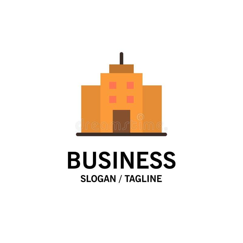 构建、用户、办公室、界面业务徽标模板 平整颜色 向量例证