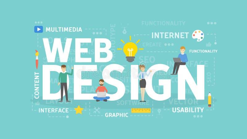 构思设计相关万维网字 库存例证