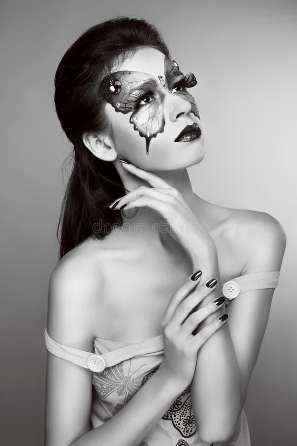 构成。时尚面孔艺术画象。黑白照片。 库存图片