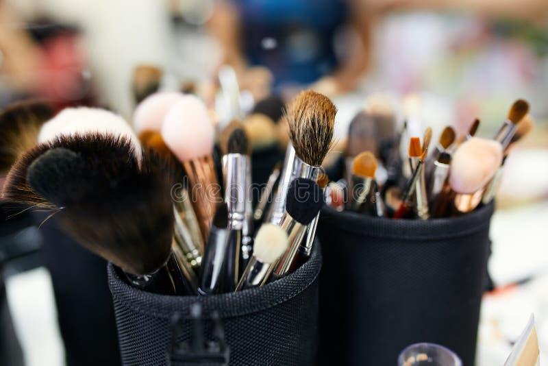 构成化妆师的刷子 免版税库存照片