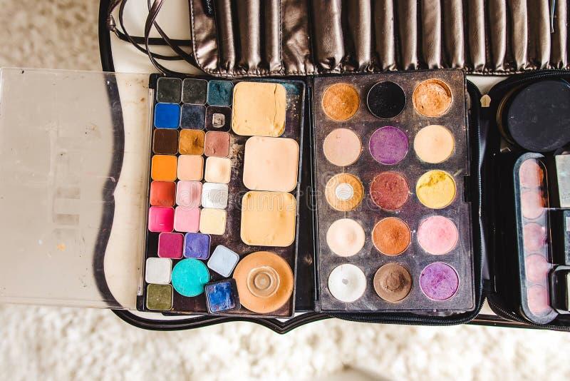 构成化妆用品和刷子 免版税库存图片