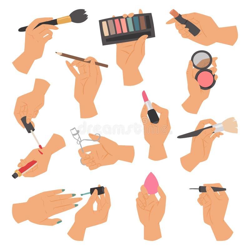 构成化妆用品的汇集和刷子在白色背景隔绝的手上导航例证 库存例证
