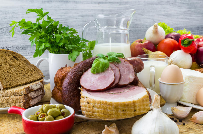 构成品种杂货产品肉牛奶店 库存照片