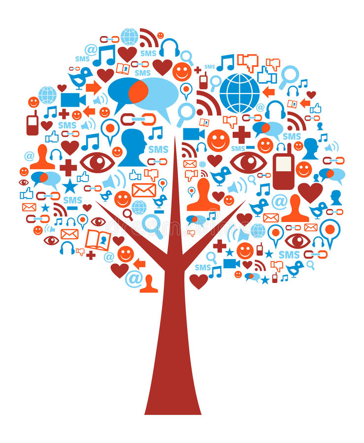 构成图标媒体被设置的社会结构树 向量例证