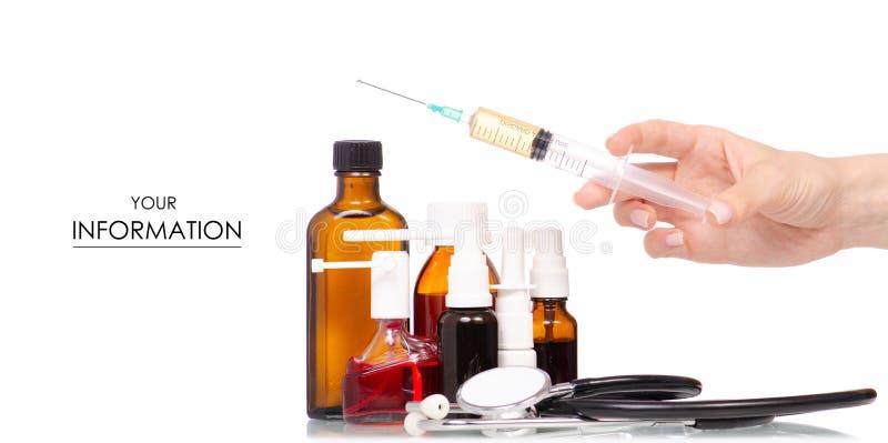 构成套医学装瓶听诊器注射器手中样式 免版税库存照片