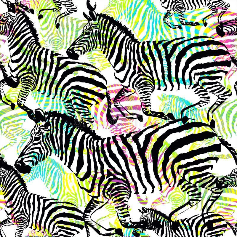构成斑马热带动物在五颜六色的绘画手拉的背景的密林 皇族释放例证