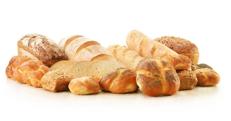 构成用在白色的面包和卷 图库摄影