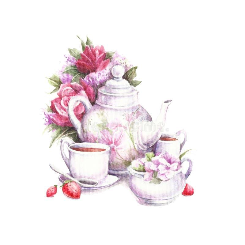 构成用茶和花 手凹道水彩例证 库存例证