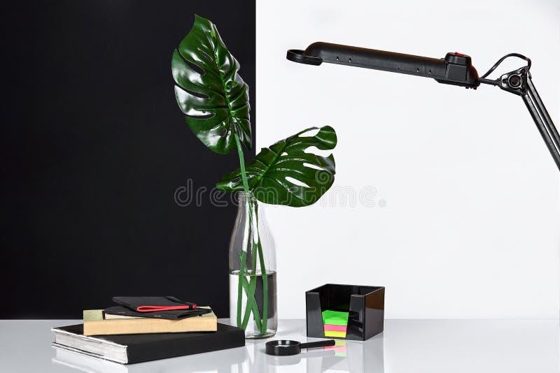 构成 绿色在瓶离开与一个书和笔记薄笔记的在白色和黑背景 正面图,拷贝 图库摄影