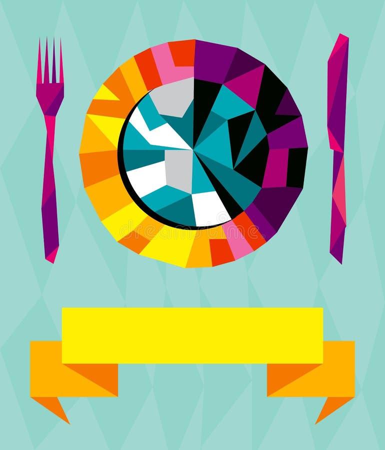 Download 构成origami餐馆 向量例证. 插画 包括有 概念性, 灰色, 刀子, 牌照, 概念, 日本, 绿色 - 22354885