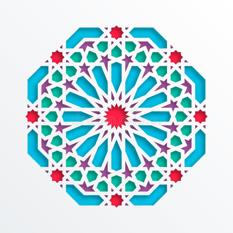 结构查找了主要几何伊斯兰清真寺回教宫殿模式 传染媒介3D回教马赛克,波斯主题 典雅的东方装饰品,传统阿拉伯艺术 向量例证
