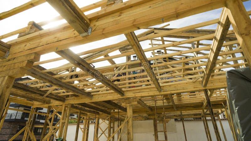 构筑一个新房框架建设中 免版税库存照片