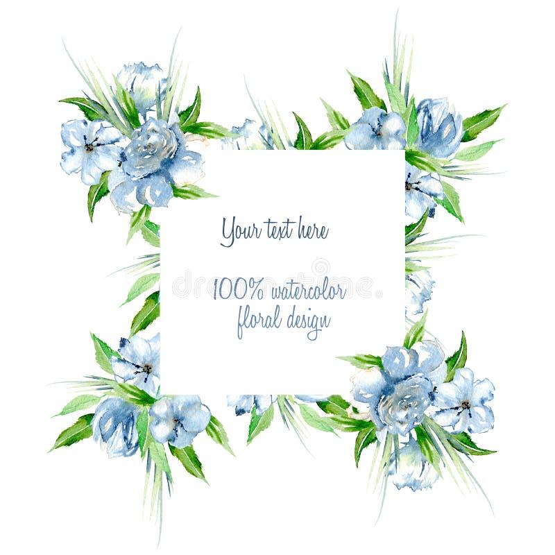 构筑与简单的水彩蓝色玫瑰的边界,并且野花,绿化新鲜的叶子和草 皇族释放例证