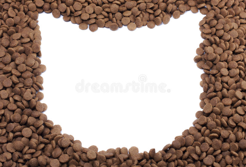 构筑宠物食品猫为背景使用 免版税图库摄影