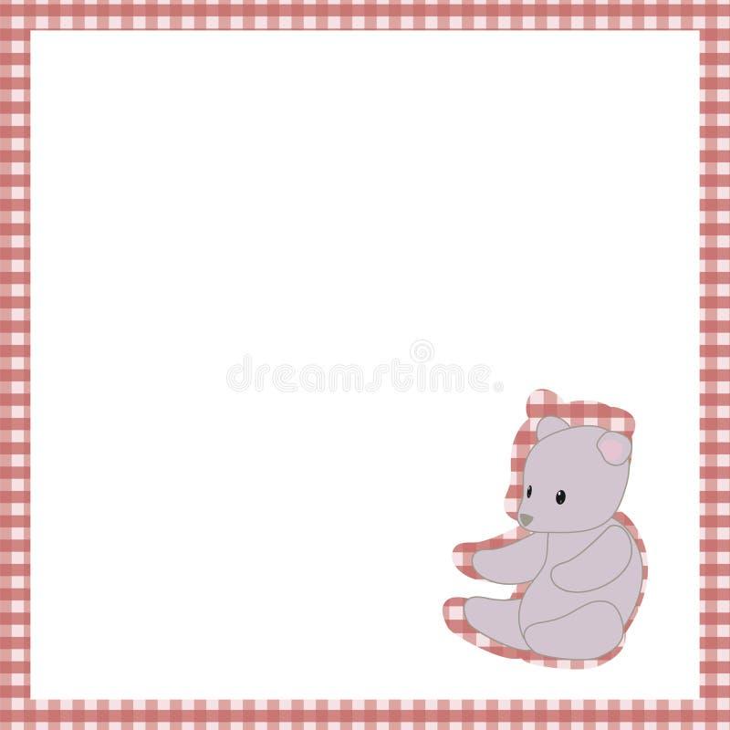 构筑红色笼子白色空间软的灰色玩具熊玩具逗人喜爱的婴孩明信片传染媒介背景 库存例证