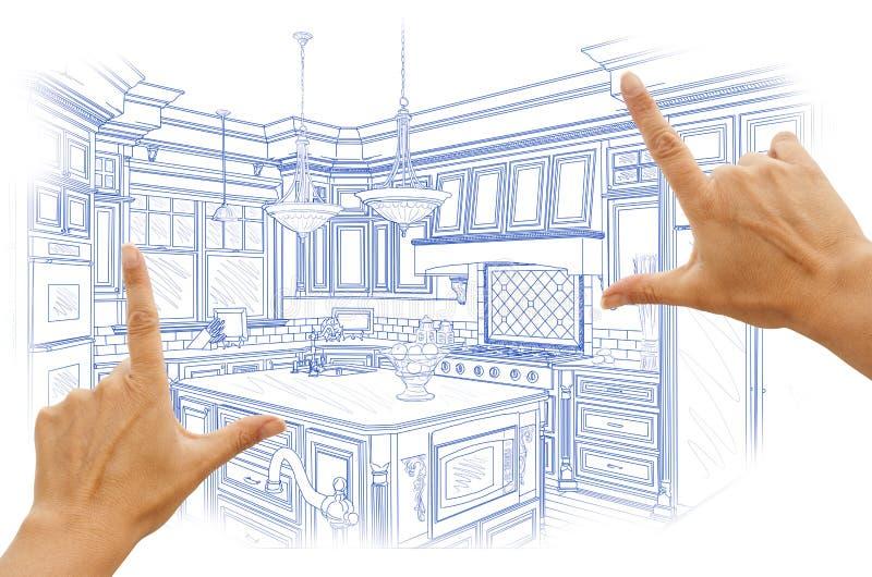 构筑蓝色习惯厨房设计图的手 库存图片