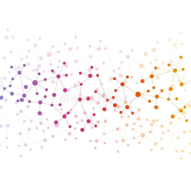 构造分子和通信脱氧核糖核酸,原子,神经元 您的设计的科学概念 与小点的被连接的线 向量例证