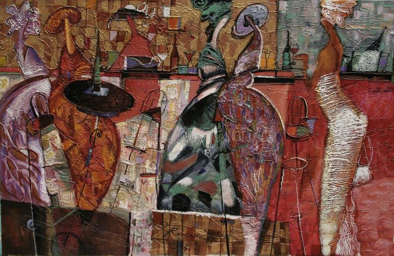 构造油画,绘画作者罗马Nogin系列`妇女` s谈话 ` 图库摄影
