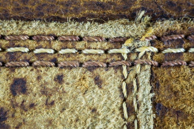 构造老皮革和缝 免版税库存照片