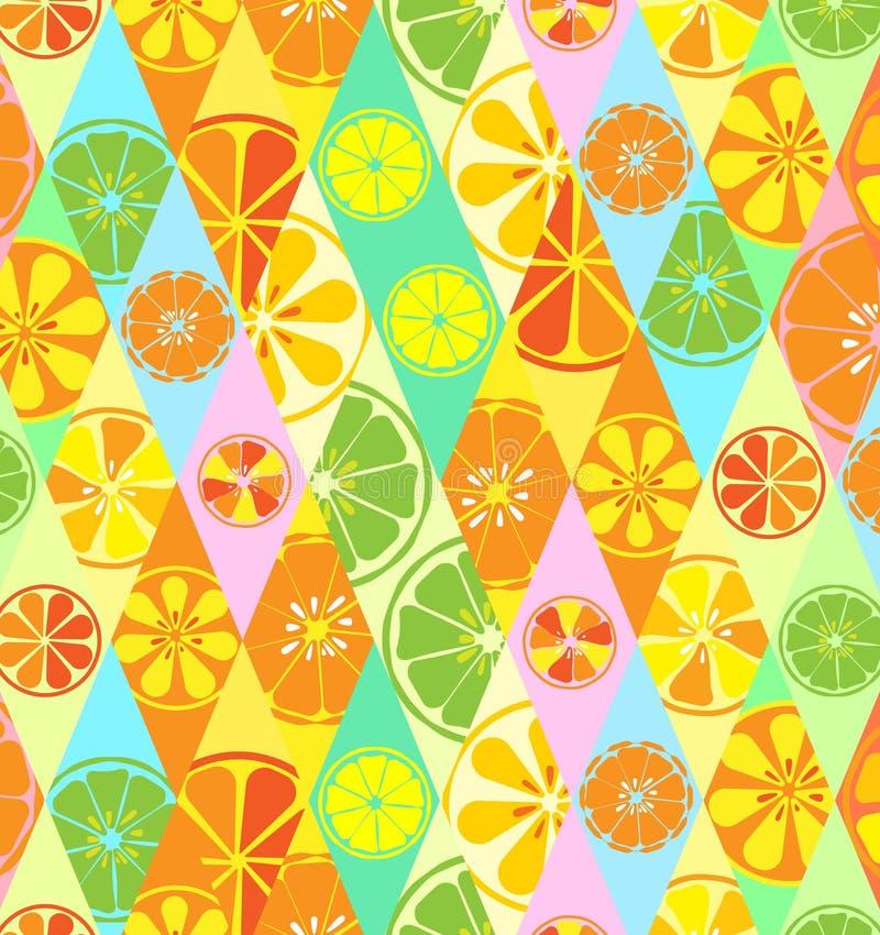 构造黄色与柠檬的样式撒石灰在菱形的桔子柑橘新鲜水果有用的维生素夏天热带鲜美甜点 向量例证