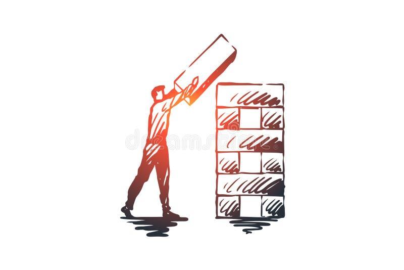 构造,元素,组织,公司概念 手拉的被隔绝的传染媒介 向量例证