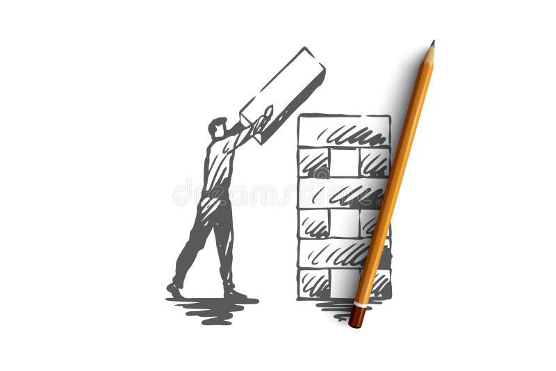 构造,元素,组织,公司概念 手拉的被隔绝的传染媒介 库存例证
