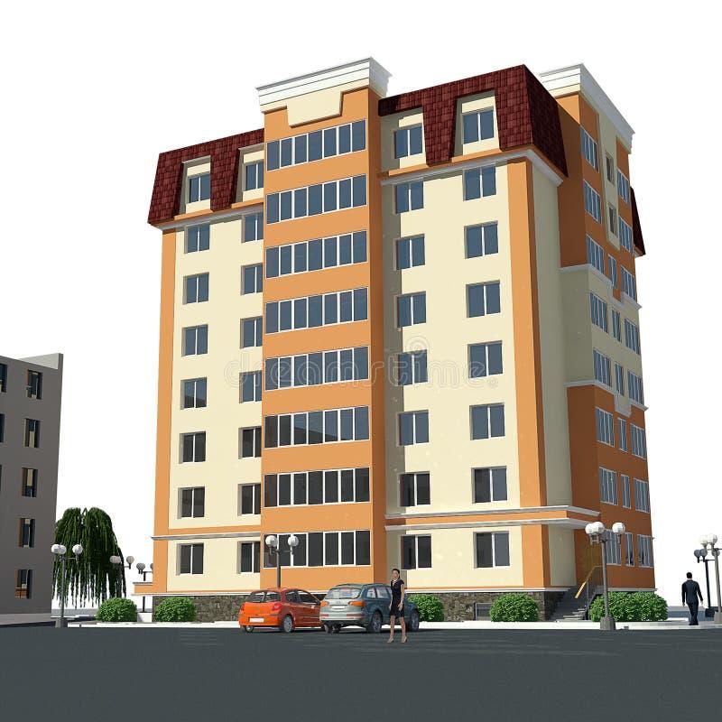 结构建立当代住宅西班牙样式的巴塞罗那 向量例证