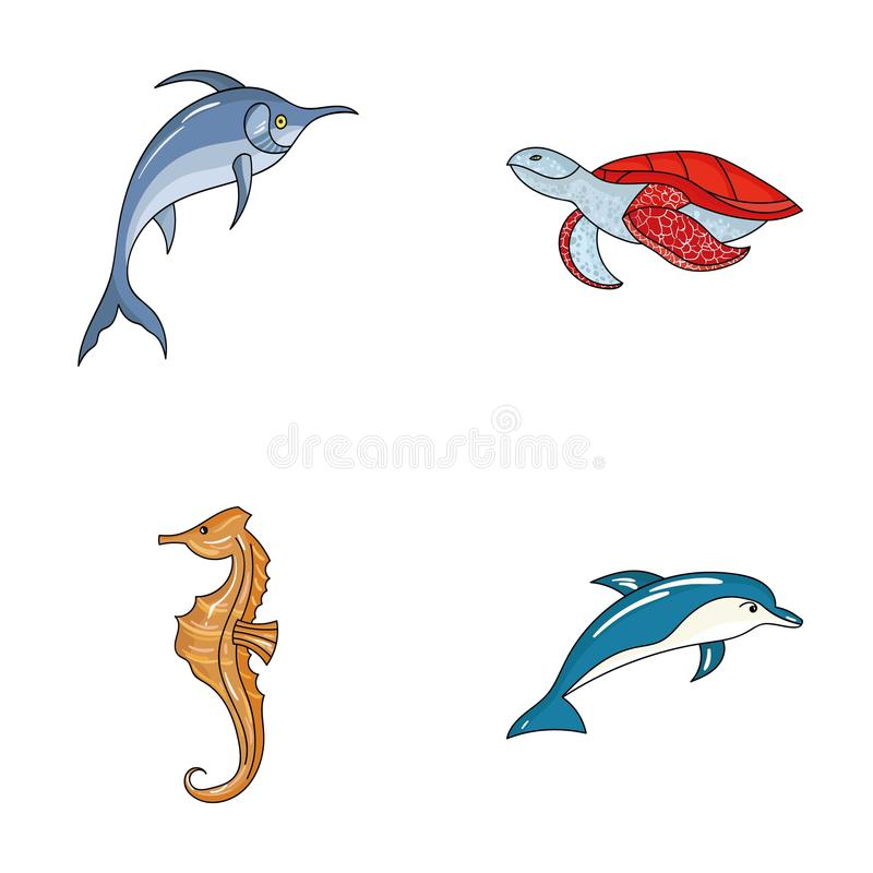 默林、乌龟和其他种类 海洋动物设置了在动画片样式传染媒介标志股票例证网的汇集象 向量例证