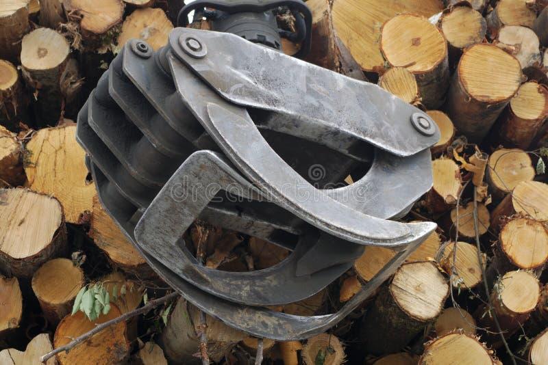 林业产业工具木木材堆运输 免版税库存照片