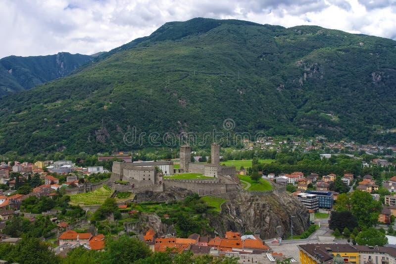 贝林佐纳,瑞士鸟瞰图  库存图片