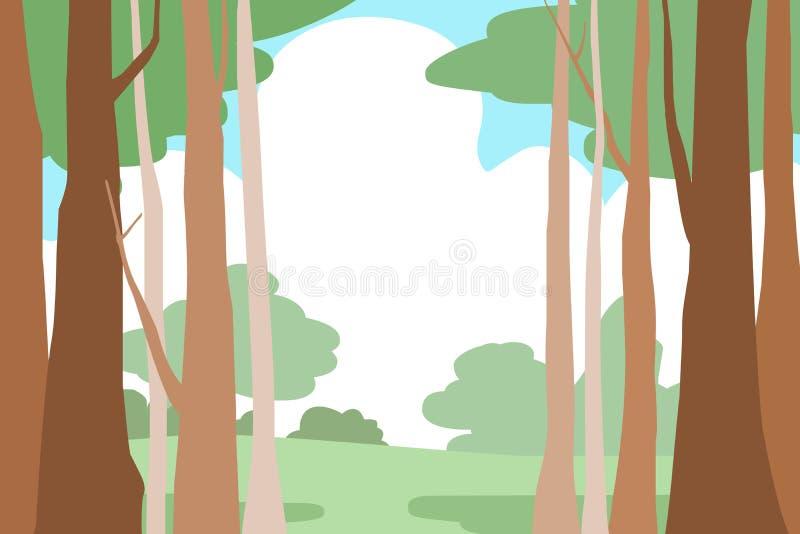 林木风景背景 向量例证