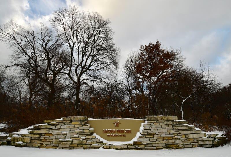 林肯公园动物园积雪的北部入口  免版税图库摄影