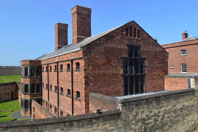 林肯城堡墙壁步行维多利亚女王时代监狱 库存图片
