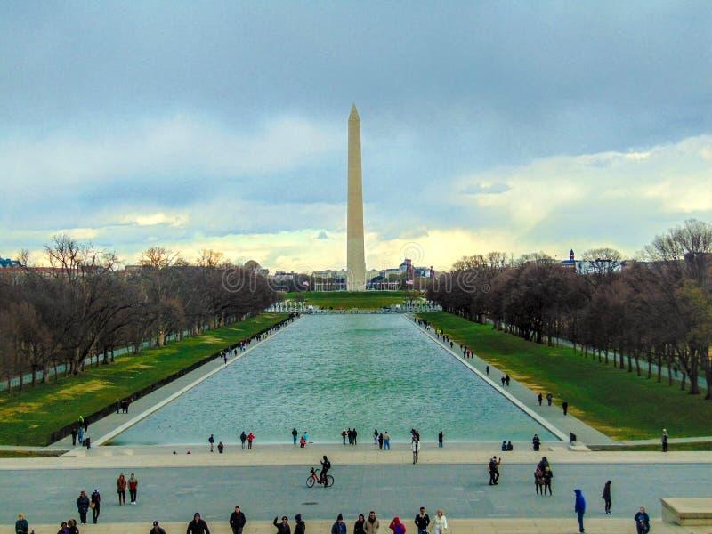 从林肯的华盛顿纪念碑 库存图片