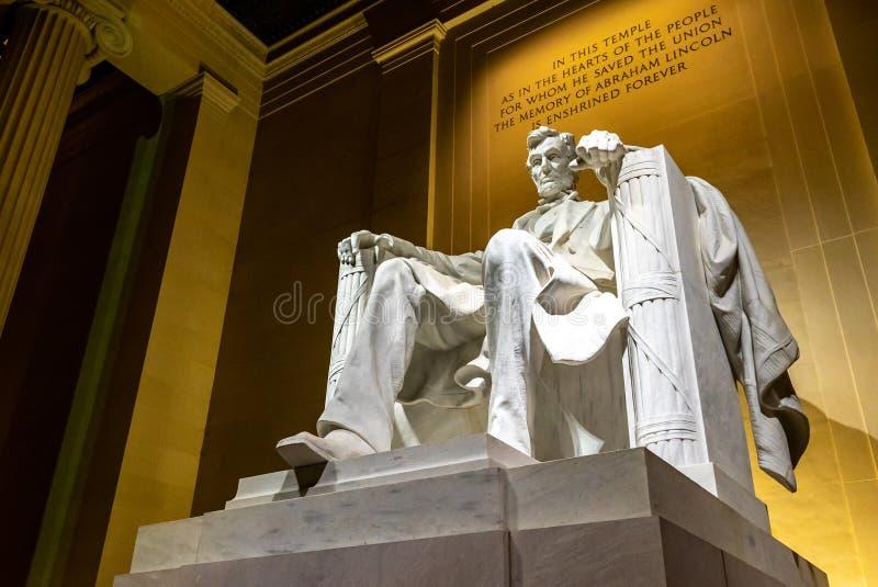 林肯纪念堂雕象 免版税图库摄影