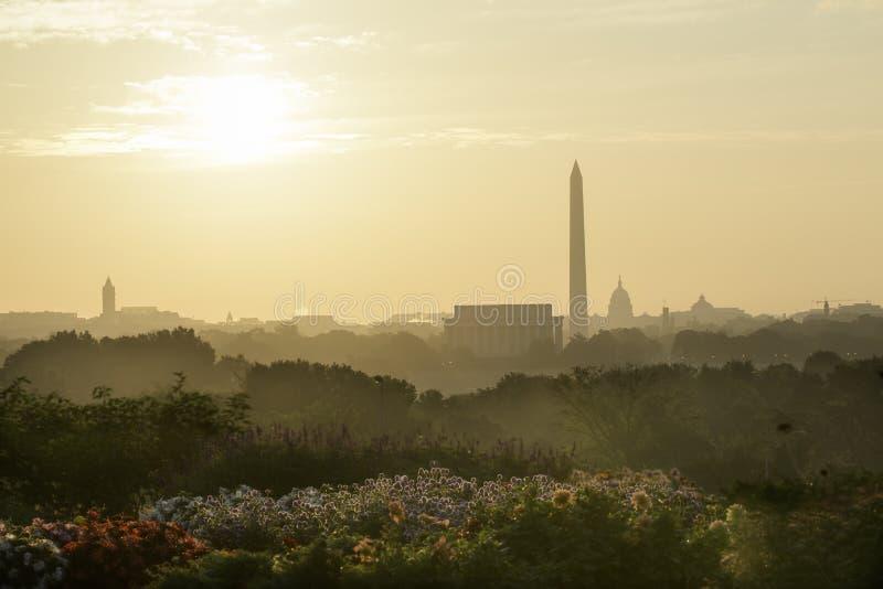 林肯纪念堂,华盛顿纪念碑,美国首都 免版税库存图片