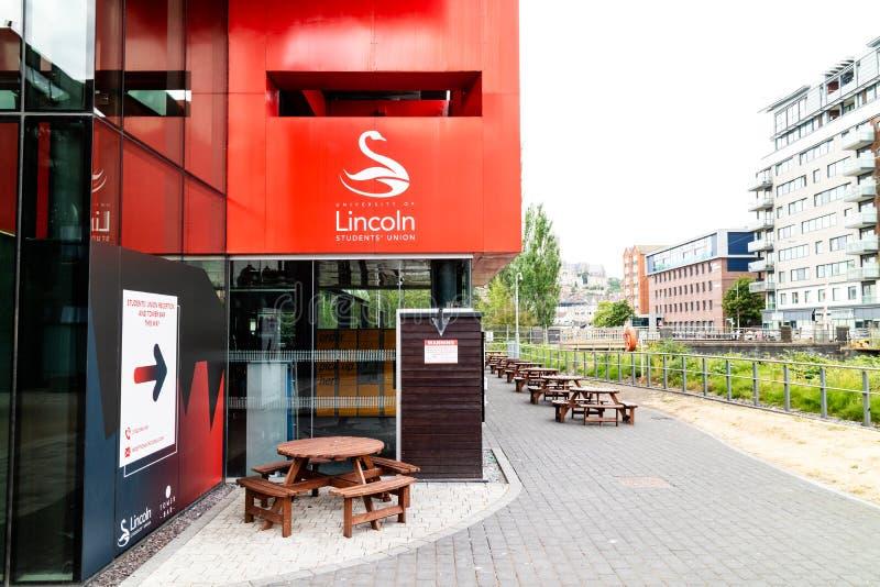 林肯,英国- 07/21/2018 :对Unive的入口 免版税库存照片