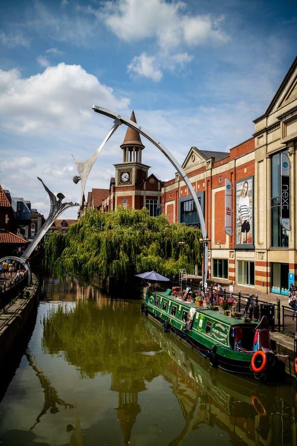 林肯,英国- 07/21/2018 :河Witham去的thr 库存图片