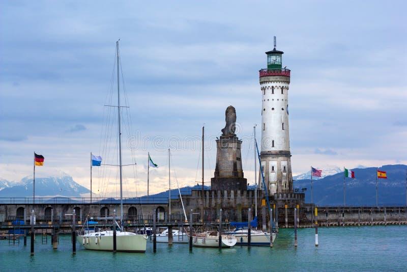 林道灯塔博登湖的(Bodensee) 库存图片