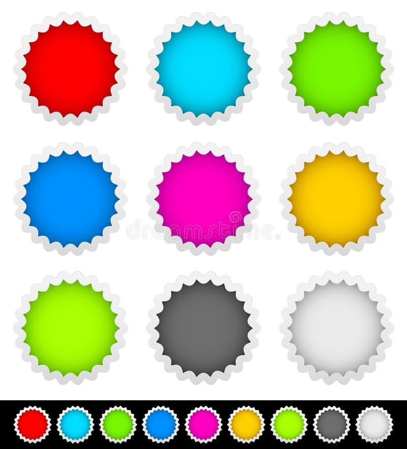 9枚明亮的空白的徽章, starburst形状 向量例证