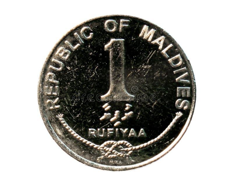 1枚Rufiyaa硬币 马尔代夫的银行 正面, 2007年 库存照片