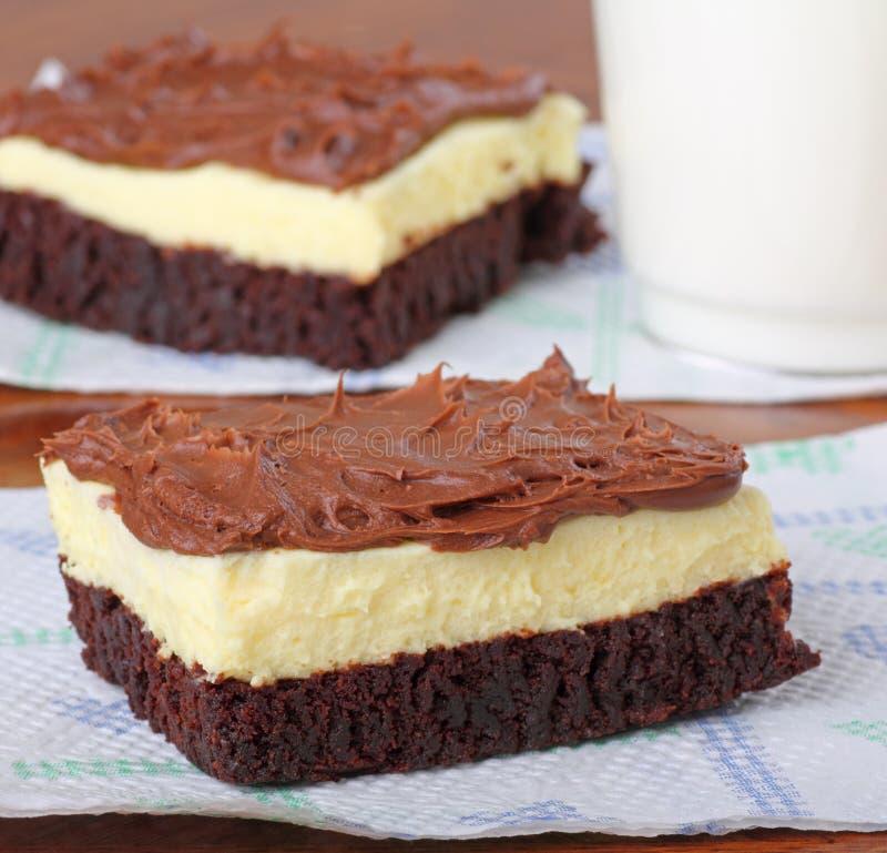 果仁巧克力乳酪蛋糕乳脂软糖 免版税图库摄影